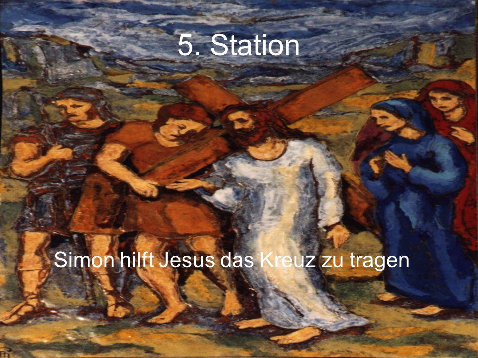 5. Station Simon hilft Jesus das Kreuz zu tragen