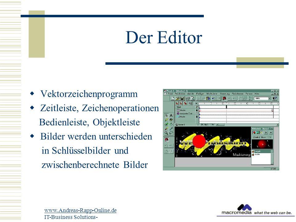 Der Editor  Vektorzeichenprogramm  Zeitleiste, Zeichenoperationen Bedienleiste, Objektleiste  Bilder werden unterschieden in Schlüsselbilder und zwischenberechnete Bilder www.Andreas-Rapp-Online.de IT-Business Solutions-