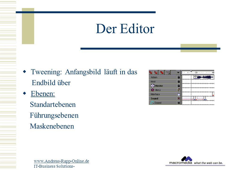 Der Editor  Tweening: Anfangsbild läuft in das Endbild über  Ebenen: Standartebenen Führungsebenen Maskenebenen www.Andreas-Rapp-Online.de IT-Busine