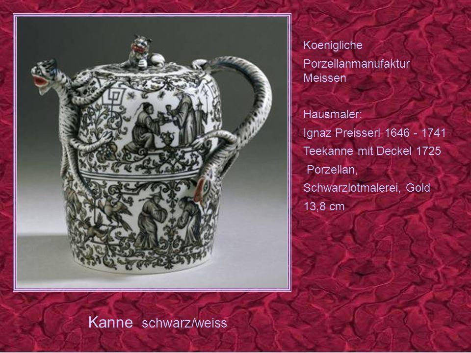 Kanne schwarz/weiss Koenigliche Porzellanmanufaktur Meissen Hausmaler: Ignaz Preisserl 1646 - 1741 Teekanne mit Deckel 1725 Porzellan, Schwarzlotmalerei, Gold 13,8 cm
