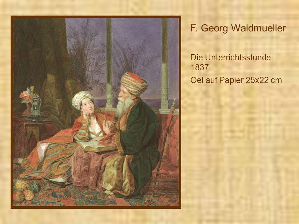 F. Georg Waldmueller Die Unterrichtsstunde 1837 Oel auf Papier 25x22 cm