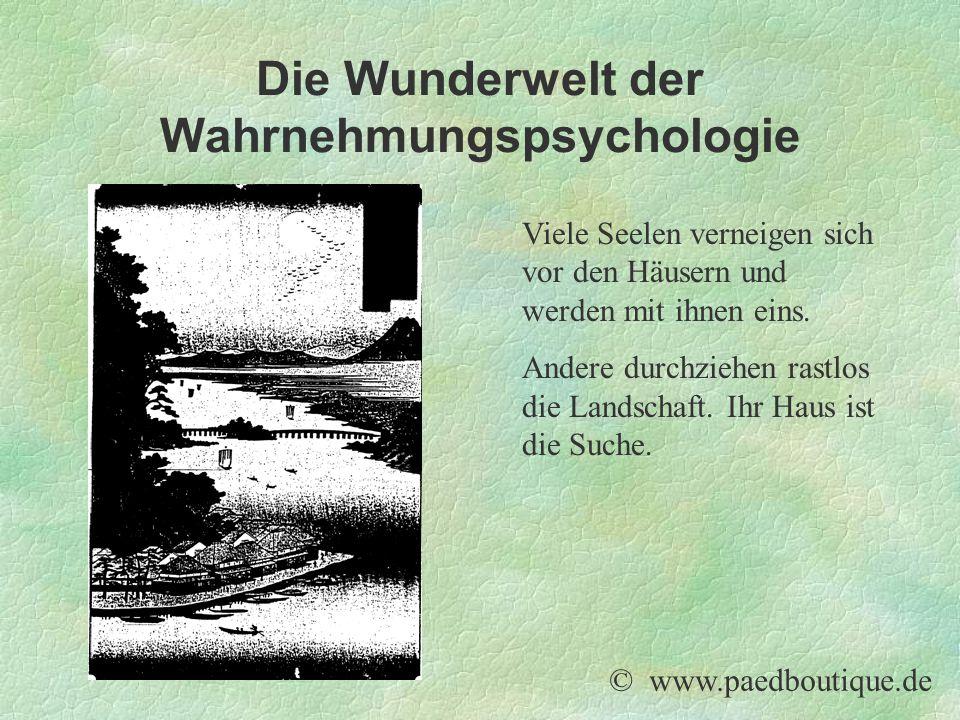 Die Wunderwelt der Wahrnehmungspsychologie Viele Seelen verneigen sich vor den Häusern und werden mit ihnen eins. Andere durchziehen rastlos die Lands