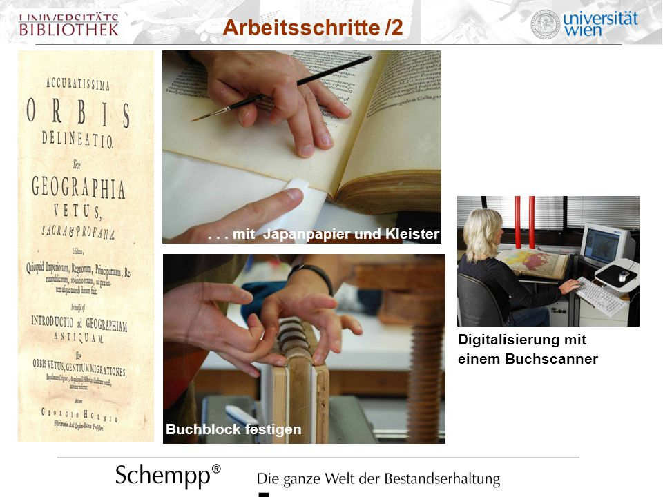 Digitalisierung mit einem Buchscanner Arbeitsschritte /2... mit Japanpapier und Kleister Buchblock festigen