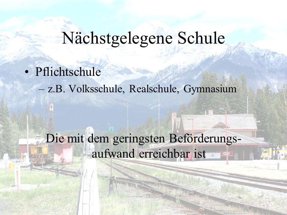 Nächstgelegene Schule •Pflichtschule –z.B.