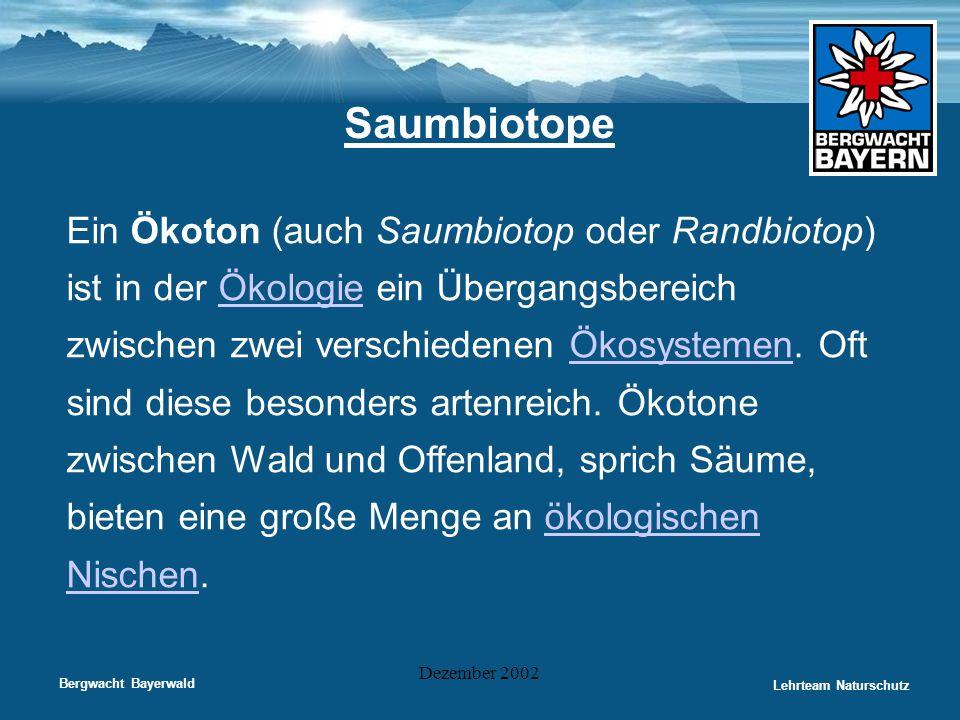 Bergwacht Bayerwald Lehrteam Naturschutz Dezember 2002 Saumbiotope Ein Ökoton (auch Saumbiotop oder Randbiotop) ist in der Ökologie ein Übergangsberei