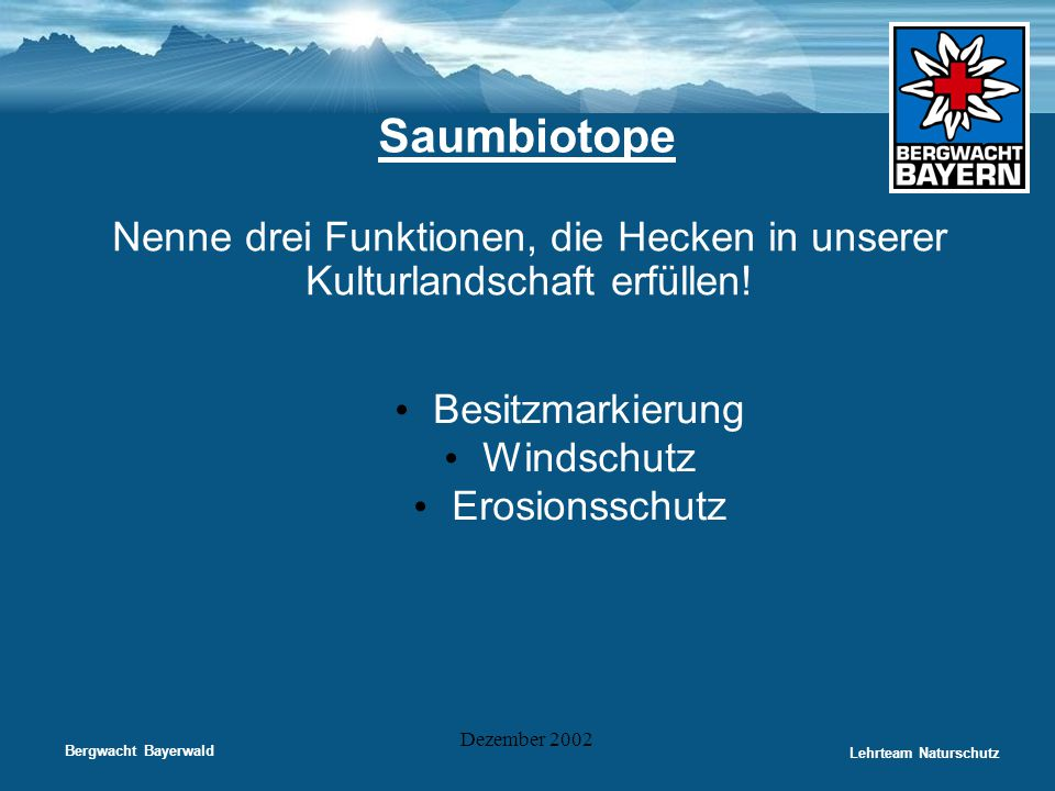 Bergwacht Bayerwald Lehrteam Naturschutz Dezember 2002 Saumbiotope Nenne drei Funktionen, die Hecken in unserer Kulturlandschaft erfüllen! • Besitzmar