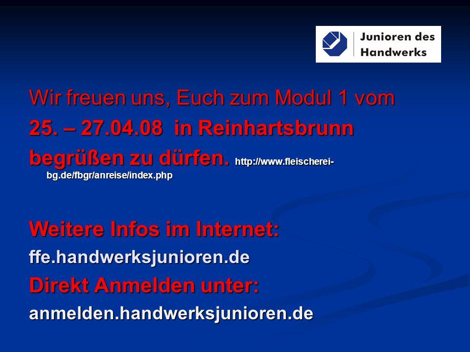 Wir freuen uns, Euch zum Modul 1 vom 25. – 27.04.08 in Reinhartsbrunn begrüßen zu dürfen.