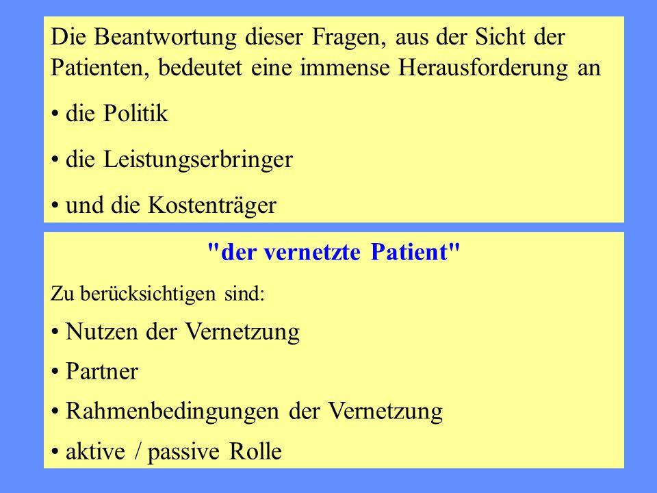 Die Beantwortung dieser Fragen, aus der Sicht der Patienten, bedeutet eine immense Herausforderung an • die Politik • die Leistungserbringer • und die Kostenträger der vernetzte Patient Zu berücksichtigen sind: • Nutzen der Vernetzung • Partner • Rahmenbedingungen der Vernetzung • aktive / passive Rolle