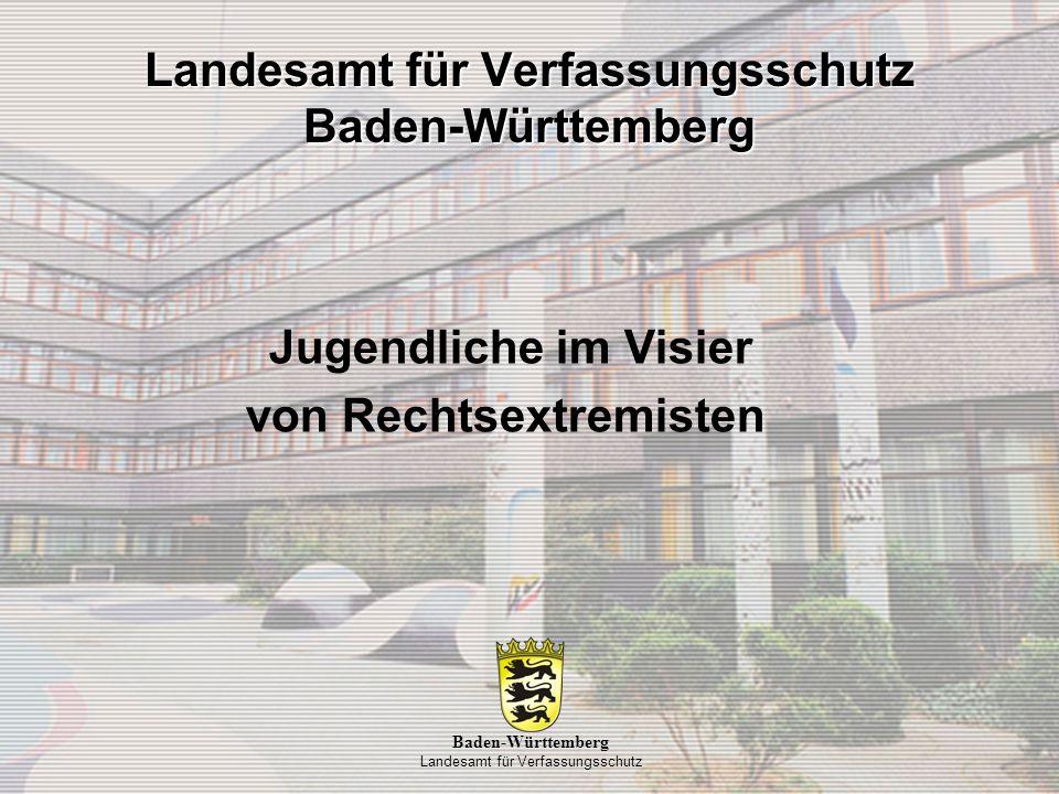 •Aktuellen Situation des Rechtsextremismus in Baden-Württemberg •Rechtsextremistischen Personenpotential •Rechtsextremistischen Gewalt- und Skinheadszene •Rechtsextremistischen Musikszene Landesamt für Verfassungsschutz Baden-Württemberg