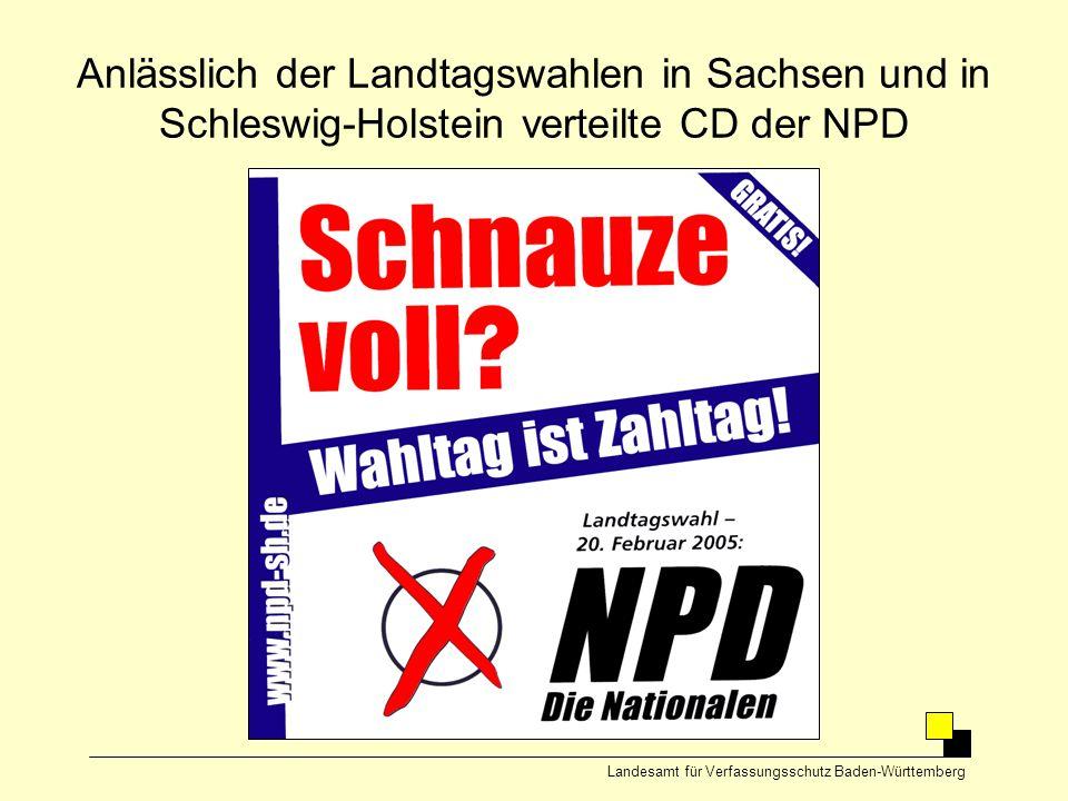 Anlässlich der Landtagswahlen in Sachsen und in Schleswig-Holstein verteilte CD der NPD Landesamt für Verfassungsschutz Baden-Württemberg
