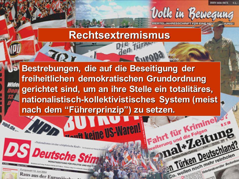 Rechtsextremismus Bestrebungen, die auf die Beseitigung der freiheitlichen demokratischen Grundordnung gerichtet sind, um an ihre Stelle ein totalitär
