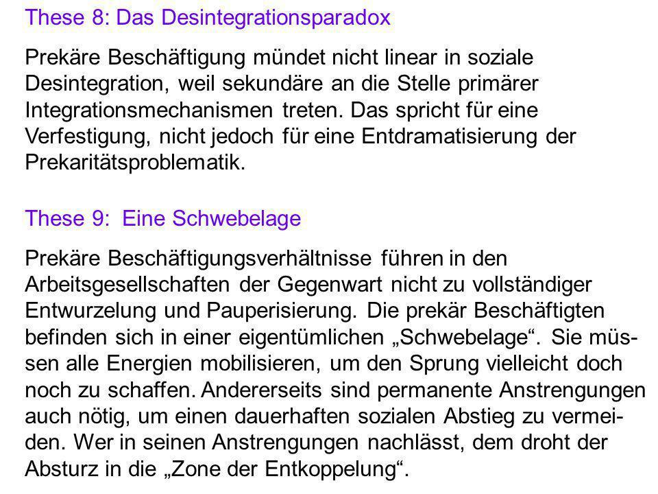 These 8: Das Desintegrationsparadox Prekäre Beschäftigung mündet nicht linear in soziale Desintegration, weil sekundäre an die Stelle primärer Integrationsmechanismen treten.