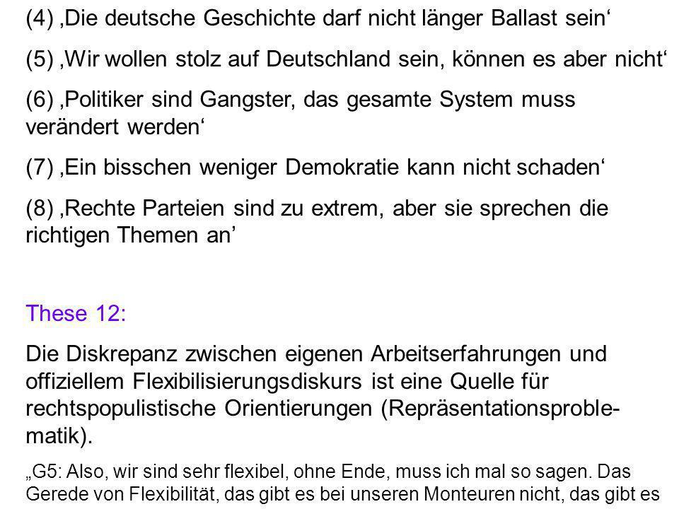 (4) 'Die deutsche Geschichte darf nicht länger Ballast sein' (5) 'Wir wollen stolz auf Deutschland sein, können es aber nicht' (6) 'Politiker sind Gangster, das gesamte System muss verändert werden' (7) 'Ein bisschen weniger Demokratie kann nicht schaden' (8) 'Rechte Parteien sind zu extrem, aber sie sprechen die richtigen Themen an' These 12: Die Diskrepanz zwischen eigenen Arbeitserfahrungen und offiziellem Flexibilisierungsdiskurs ist eine Quelle für rechtspopulistische Orientierungen (Repräsentationsproble- matik).