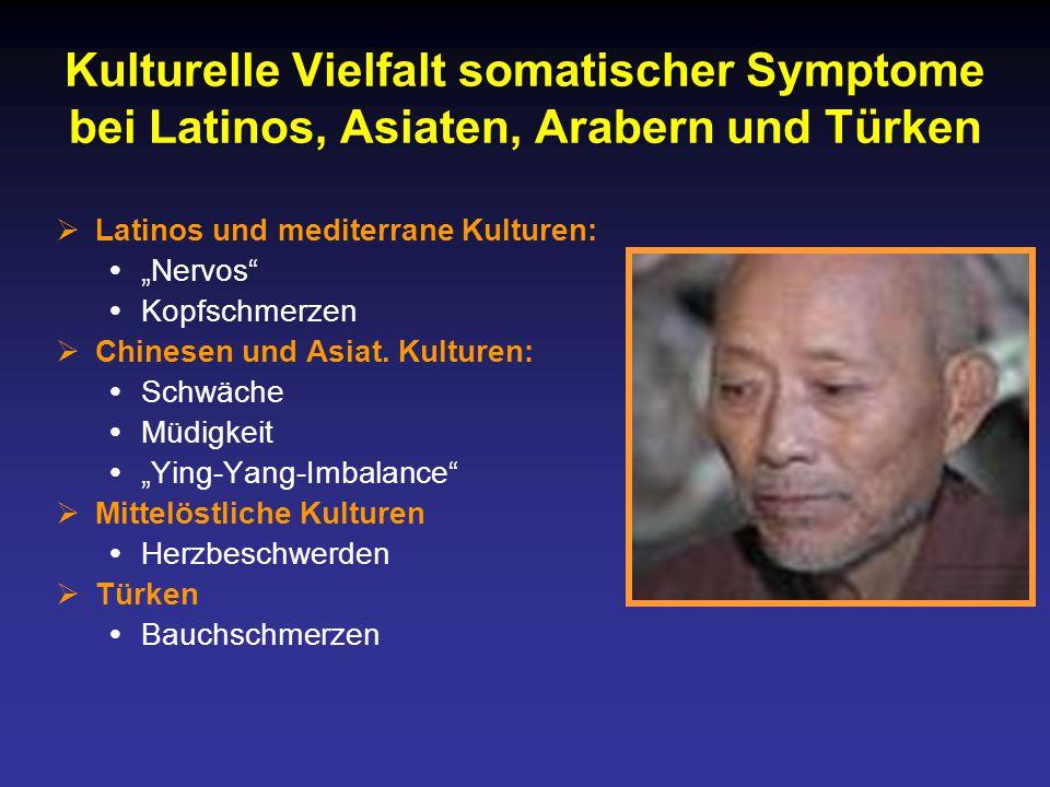"""Kulturelle Vielfalt somatischer Symptome bei Latinos, Asiaten, Arabern und Türken  Latinos und mediterrane Kulturen:  """"Nervos  Kopfschmerzen  Chinesen und Asiat."""