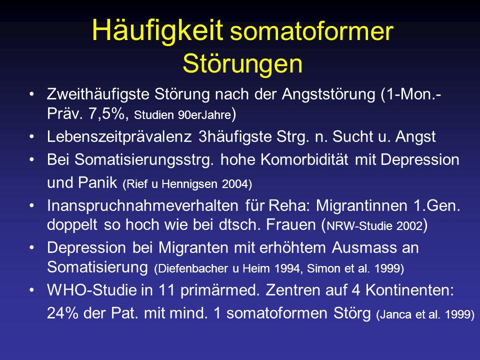 Häufigkeit somatoformer Störungen Zweithäufigste Störung nach der Angststörung (1-Mon.- Präv.