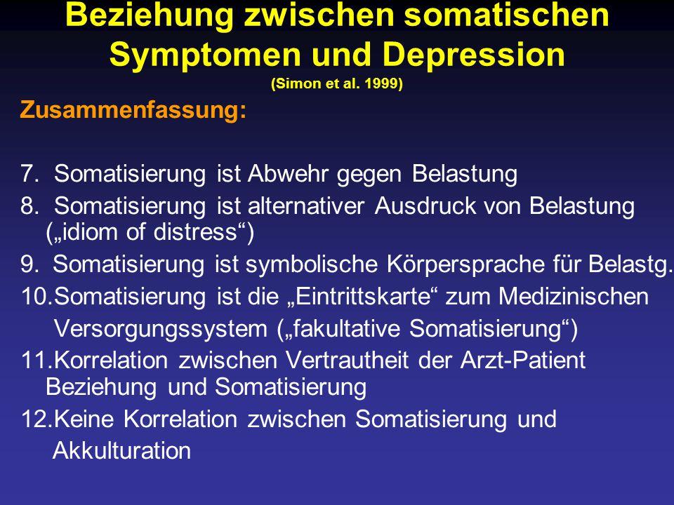 Beziehung zwischen somatischen Symptomen und Depression (Simon et al.
