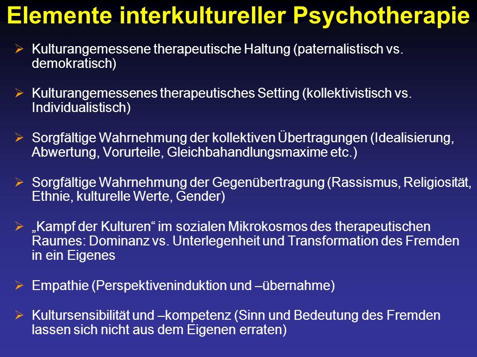 Elemente interkultureller Psychotherapie  Kulturangemessene therapeutische Haltung (paternalistisch vs.