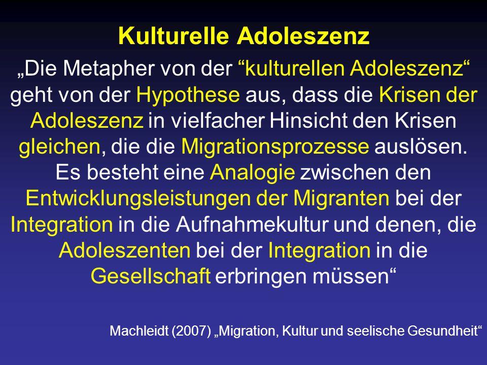 """Kulturelle Adoleszenz """"Die Metapher von der kulturellen Adoleszenz geht von der Hypothese aus, dass die Krisen der Adoleszenz in vielfacher Hinsicht den Krisen gleichen, die die Migrationsprozesse auslösen."""