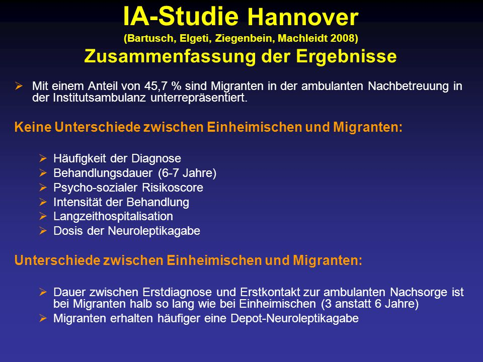  Mit einem Anteil von 45,7 % sind Migranten in der ambulanten Nachbetreuung in der Institutsambulanz unterrepräsentiert.