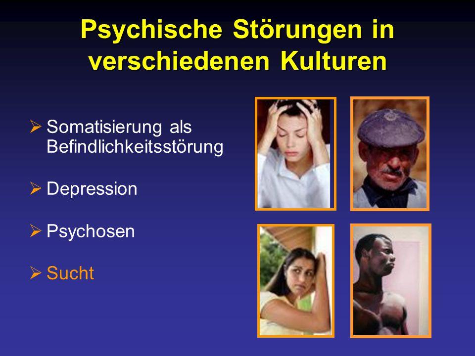 Psychische Störungen in verschiedenen Kulturen  Somatisierung als Befindlichkeitsstörung  Depression  Psychosen  Sucht