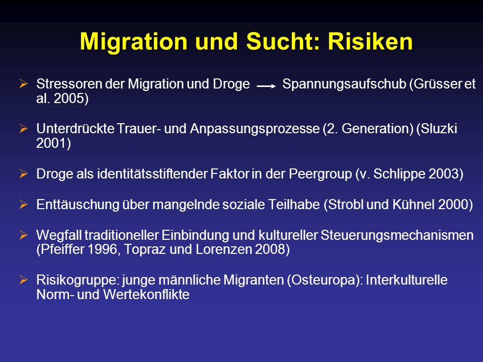 Migration und Sucht: Risiken  Stressoren der Migration und Droge Spannungsaufschub (Grüsser et al.