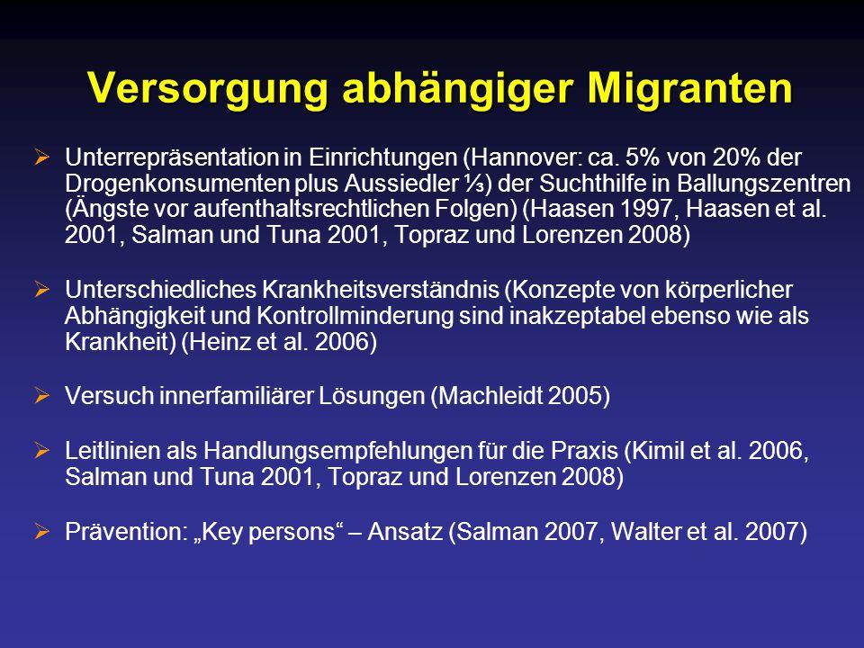 Versorgung abhängiger Migranten  Unterrepräsentation in Einrichtungen (Hannover: ca.