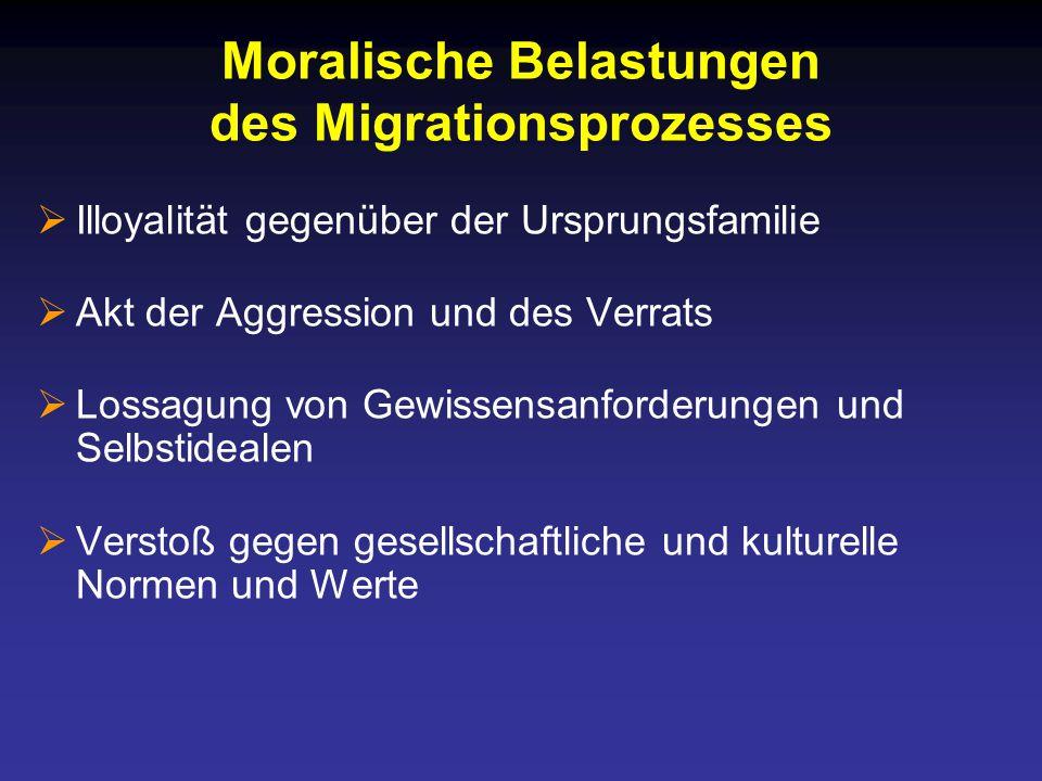 Moralische Belastungen des Migrationsprozesses  Illoyalität gegenüber der Ursprungsfamilie  Akt der Aggression und des Verrats  Lossagung von Gewissensanforderungen und Selbstidealen  Verstoß gegen gesellschaftliche und kulturelle Normen und Werte