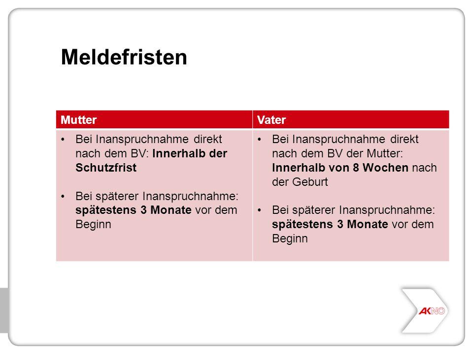 Meldefristen MutterVater Bei Inanspruchnahme direkt nach dem BV: Innerhalb der Schutzfrist Bei späterer Inanspruchnahme: spätestens 3 Monate vor dem B