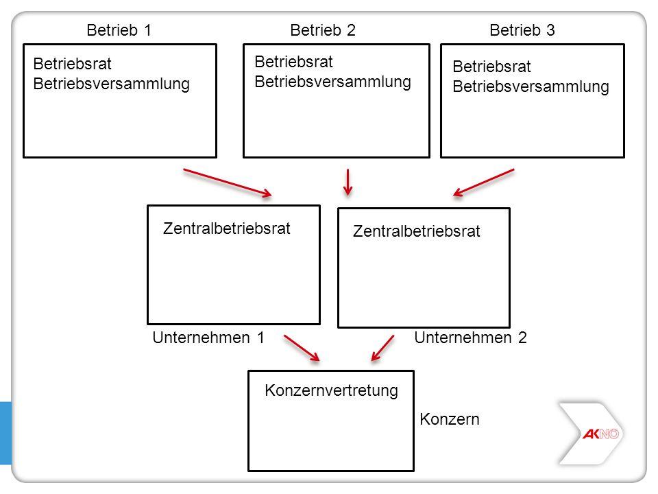 Betrieb 1Betrieb 2Betrieb 3 Unternehmen 1Unternehmen 2 Konzern Betriebsrat Betriebsversammlung Betriebsrat Betriebsversammlung Betriebsrat Betriebsver