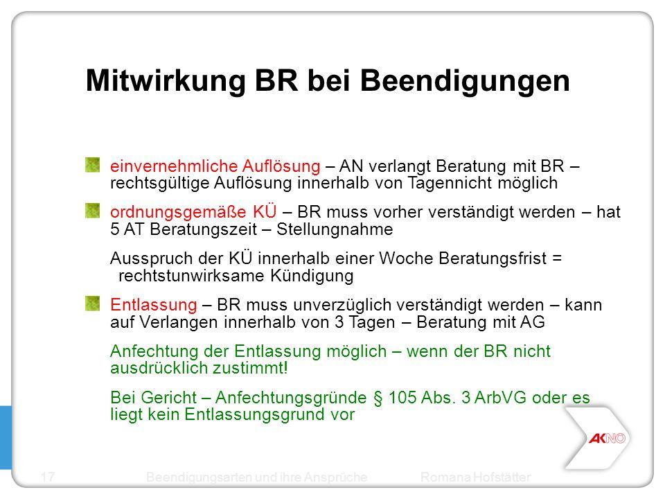 Mitwirkung BR bei Beendigungen einvernehmliche Auflösung – AN verlangt Beratung mit BR – rechtsgültige Auflösung innerhalb von Tagennicht möglich ordn