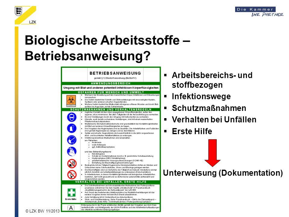Biologische Arbeitsstoffe – Betriebsanweisung?  Arbeitsbereichs- und stoffbezogen  Infektionswege  Schutzmaßnahmen  Verhalten bei Unfällen  Erste