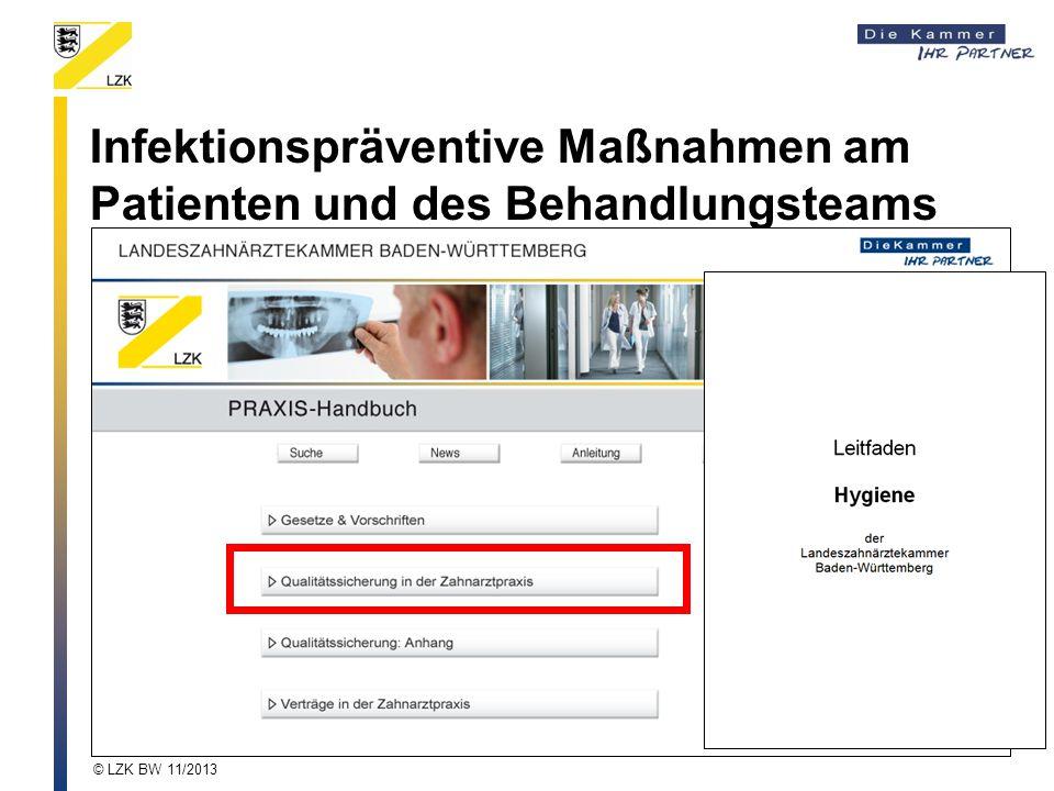 Infektionspräventive Maßnahmen am Patienten und des Behandlungsteams © LZK BW 11/2013
