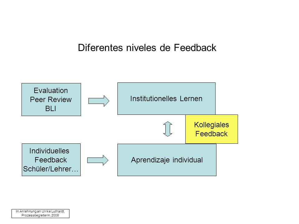 Diferentes niveles de Feedback Institutionelles Lernen Evaluation Peer Review BLI Aprendizaje individual Individuelles Feedback Schüler/Lehrer… In Anl