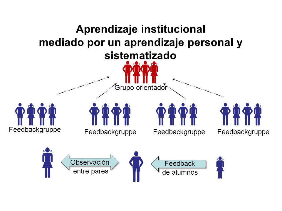 Aprendizaje institucional mediado por un aprendizaje personal y sistematizado           Grupo orientador Feedbackgruppe    Feedback de alumnos Observación entre pares