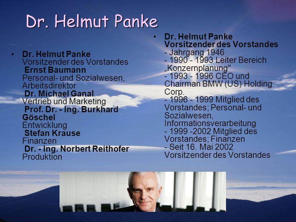 Dr. Helmut Panke Dr. Helmut Panke Vorsitzender des Vorstandes Ernst Baumann Personal- und Sozialwesen, Arbeitsdirektor Dr. Michael Ganal Vertrieb und