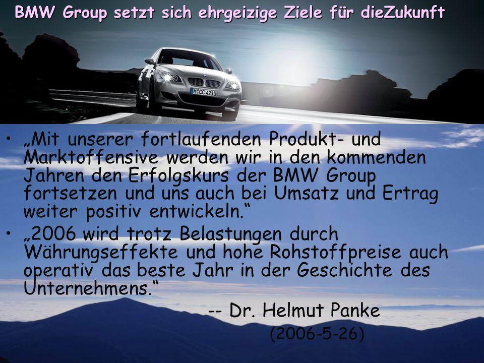 """""""Mit unserer fortlaufenden Produkt- und Marktoffensive werden wir in den kommenden Jahren den Erfolgskurs der BMW Group fortsetzen und uns auch bei Um"""