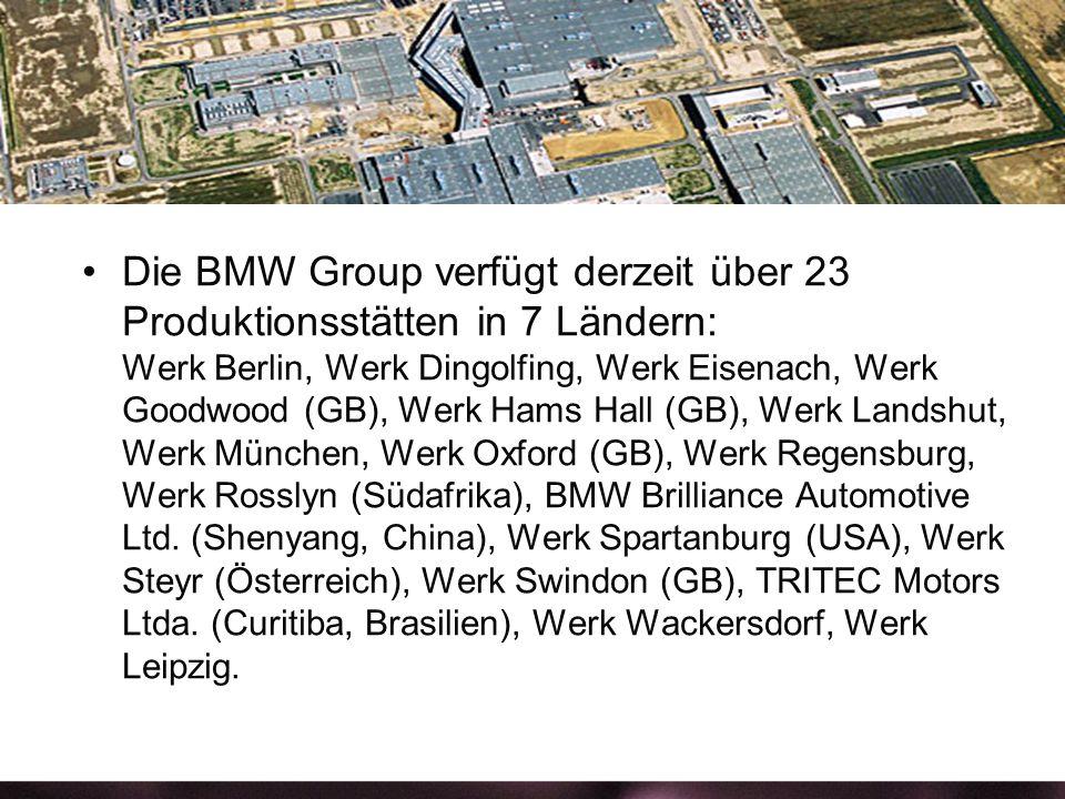 Meilensteine -- in den 90er und später 1992: geht in die USA, ein Werk in Spartanburg (South Carolina) speziell für die Produktion des Roadsters BMW Z3 1994: verhängnisvoller Kauf der Rover-Gruppe (Rover, Land Rover, Mini und MG) 1998: Rolls-Royce kommt (ab 2003 die Markenrechte nutzen kann), mit Planung neuer Modelle und Rolls-Royce Fahrzeugfabrik in Goodwood, West Sussex beginnt 2000: Rover wieder verkauft wird, die BMW Gruppe sich neu ausrichtet