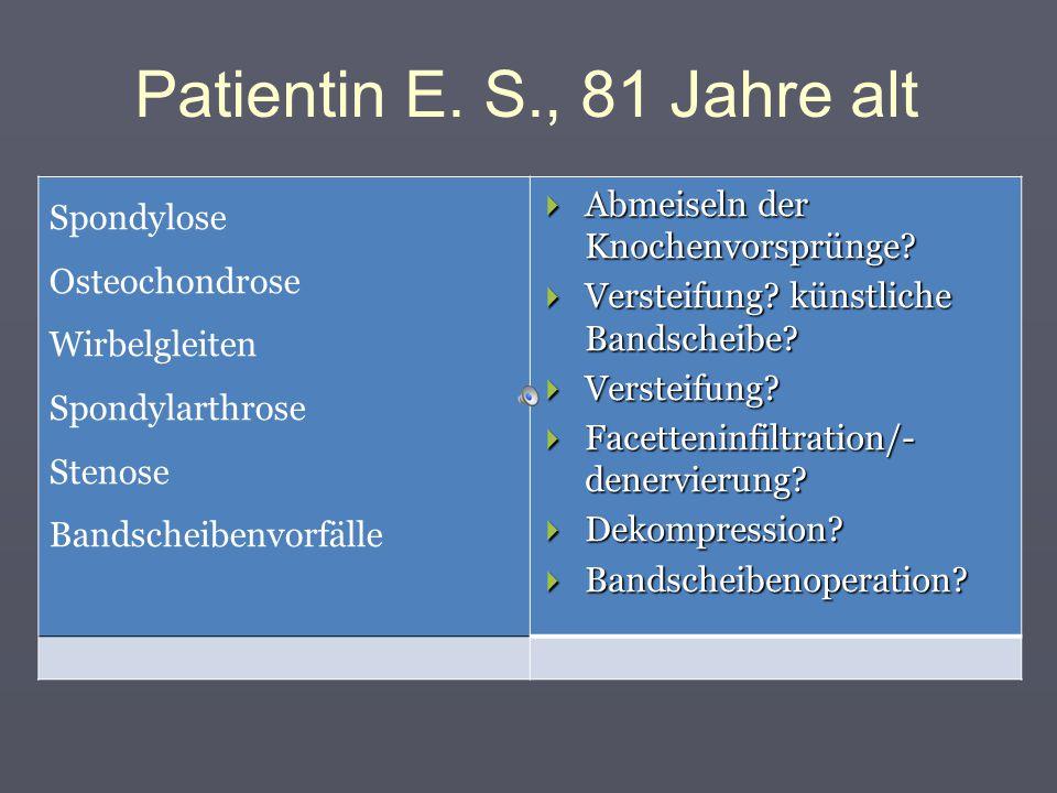 Patientin E. S., 81 Jahre alt Was soll man behandeln? Wie soll man behandeln?