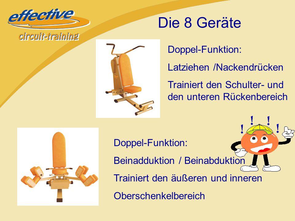 Doppel-Funktion: Brustpresse /Latrudern Trainiert den Brust- und Rückenbereich Doppel-Funktion: Bein-Beugung / Beinstreckung Trainiert den vorderen und hinteren Oberschenkelbereich Die 8 Geräte