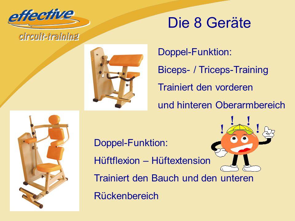Doppel-Funktion: Latziehen /Nackendrücken Trainiert den Schulter- und den unteren Rückenbereich Doppel-Funktion: Beinadduktion / Beinabduktion Trainiert den äußeren und inneren Oberschenkelbereich Die 8 Geräte