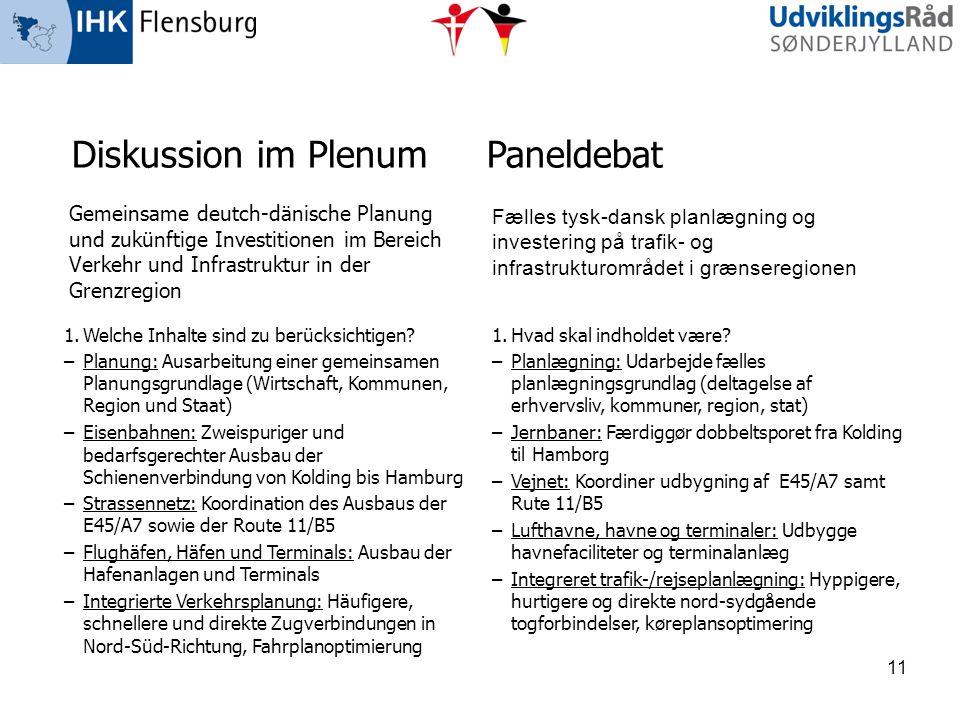 Gemeinsame deutch-dänische Planung und zukünftige Investitionen im Bereich Verkehr und Infrastruktur in der Grenzregion Fælles tysk-dansk planlægning