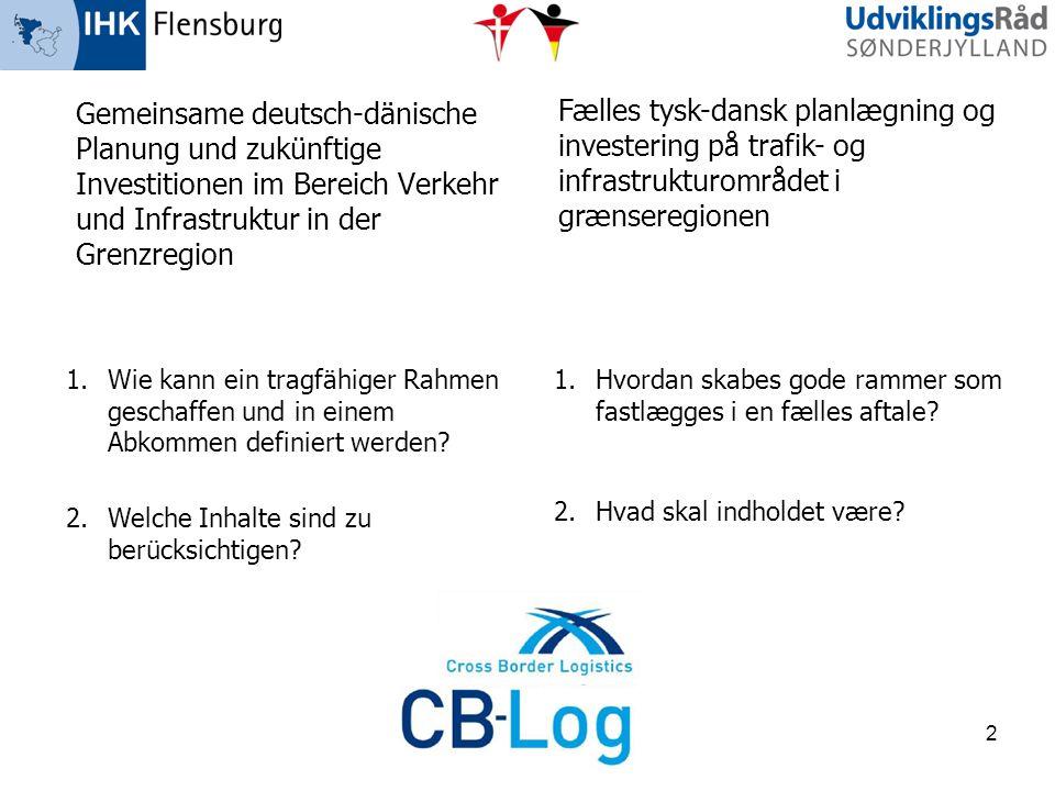 Gemeinsame deutsch-dänische Planung und zukünftige Investitionen im Bereich Verkehr und Infrastruktur in der Grenzregion Fælles tysk-dansk planlægning