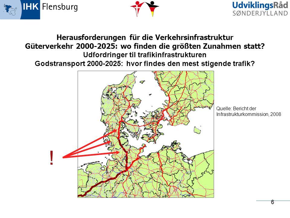 6 Herausforderungen für die Verkehrsinfrastruktur Güterverkehr 2000-2025: wo finden die größten Zunahmen statt? Udfordringer til trafikinfrastrukturen