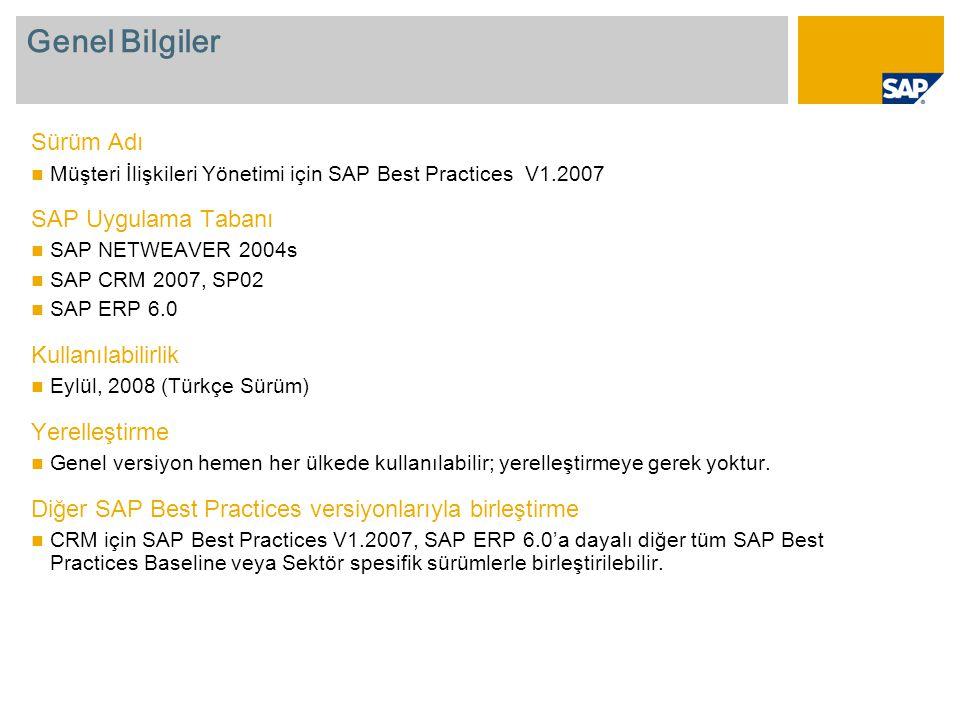 Genel Bilgiler Sürüm Adı  Müşteri İlişkileri Yönetimi için SAP Best Practices V1.2007 SAP Uygulama Tabanı  SAP NETWEAVER 2004s  SAP CRM 2007, SP02  SAP ERP 6.0 Kullanılabilirlik  Eylül, 2008 (Türkçe Sürüm) Yerelleştirme  Genel versiyon hemen her ülkede kullanılabilir; yerelleştirmeye gerek yoktur.