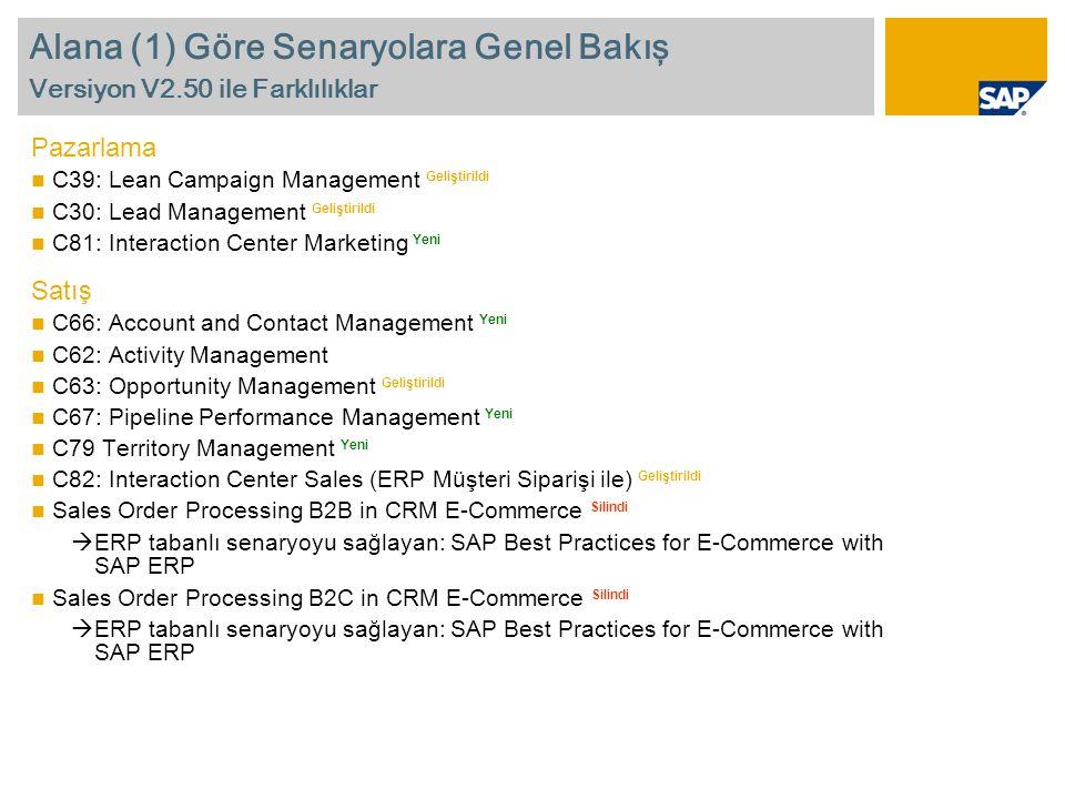 Alana (1) Göre Senaryolara Genel Bakış Versiyon V2.50 ile Farklılıklar Pazarlama  C39: Lean Campaign Management Geliştirildi  C30: Lead Management Geliştirildi  C81: Interaction Center Marketing Yeni Satış  C66: Account and Contact Management Yeni  C62: Activity Management  C63: Opportunity Management Geliştirildi  C67: Pipeline Performance Management Yeni  C79 Territory Management Yeni  C82: Interaction Center Sales (ERP Müşteri Siparişi ile) Geliştirildi  Sales Order Processing B2B in CRM E-Commerce Silindi  ERP tabanlı senaryoyu sağlayan: SAP Best Practices for E-Commerce with SAP ERP  Sales Order Processing B2C in CRM E-Commerce Silindi  ERP tabanlı senaryoyu sağlayan: SAP Best Practices for E-Commerce with SAP ERP
