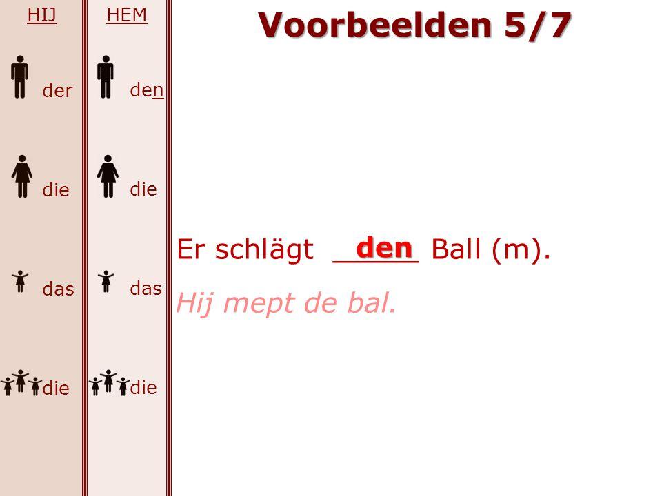 der die das die Voorbeelden 5/7 HIJ den die das die HEM Er schlägt _____ Ball (m). den Hij mept de bal.