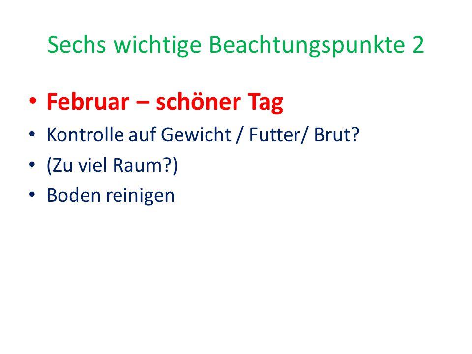 Sechs wichtige Beachtungspunkte 2 Februar – schöner Tag Kontrolle auf Gewicht / Futter/ Brut? (Zu viel Raum?) Boden reinigen