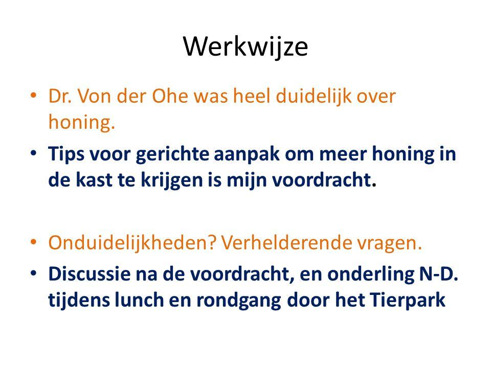 Werkwijze Dr. Von der Ohe was heel duidelijk over honing. Tips voor gerichte aanpak om meer honing in de kast te krijgen is mijn voordracht. Onduideli