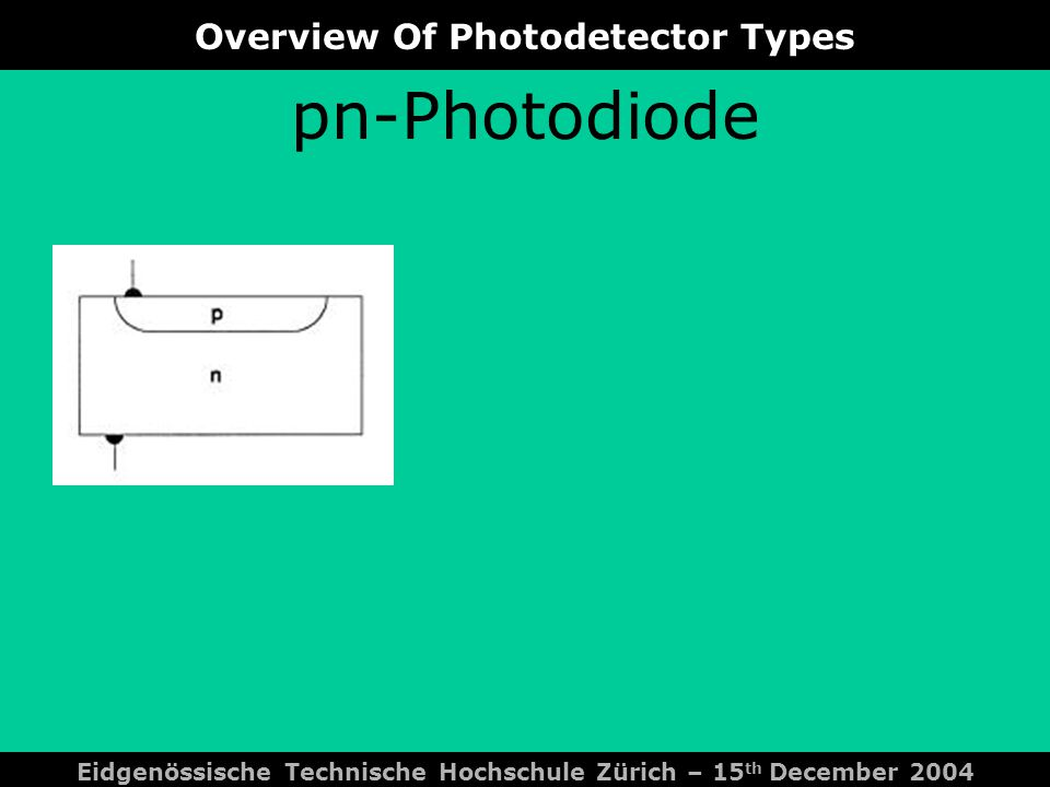 Overview Of Photodetector Types Eidgenössische Technische Hochschule Zürich – 15 th December 2004 pin-Photodiode
