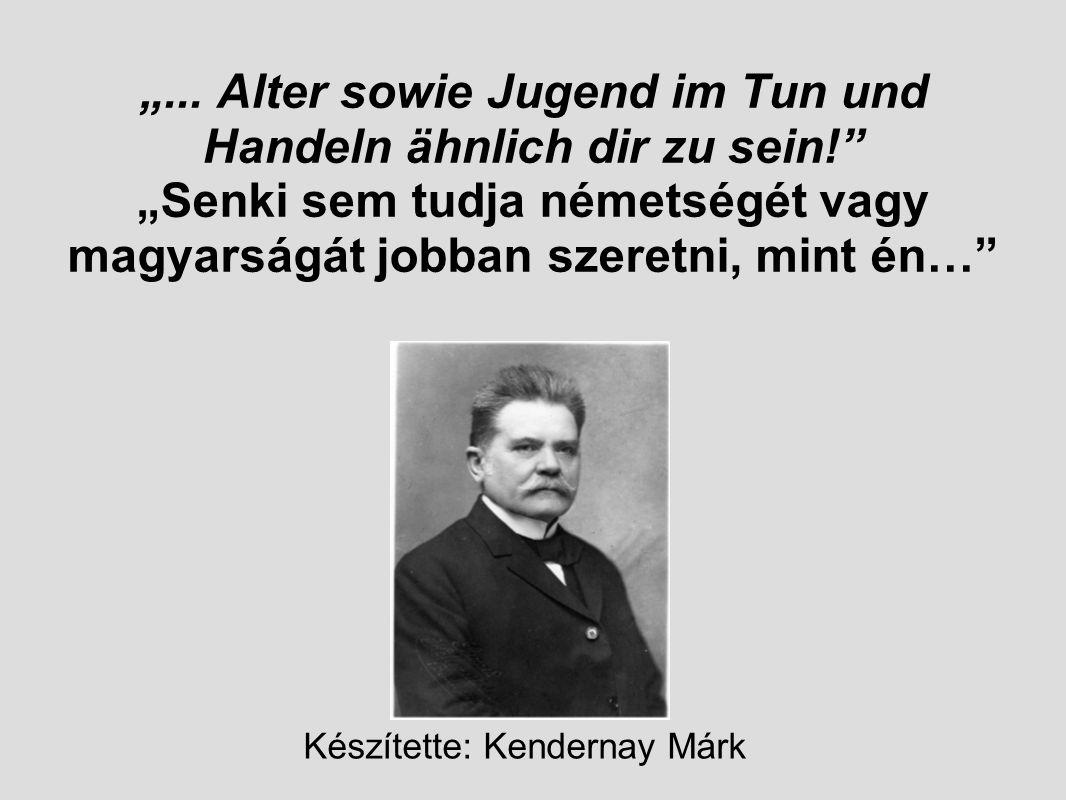 """""""... Alter sowie Jugend im Tun und Handeln ähnlich dir zu sein!"""" """"Senki sem tudja németségét vagy magyarságát jobban szeretni, mint én…"""" Készítette: K"""